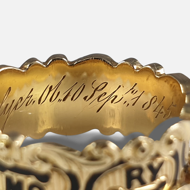 Victorian 18ct Gold and Enamel Memorial Mourning Ring, 1845 view of the inner inscription