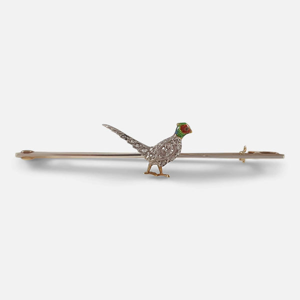 the Edwardian diamond and enamel pheasant brooch viewed from the front