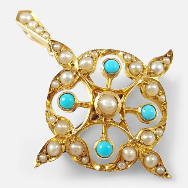 Edwardian 15ct Gold Turquoise Cabochon and Seed Pearl Pendant Brooch - Argentum Antiques & Collectables