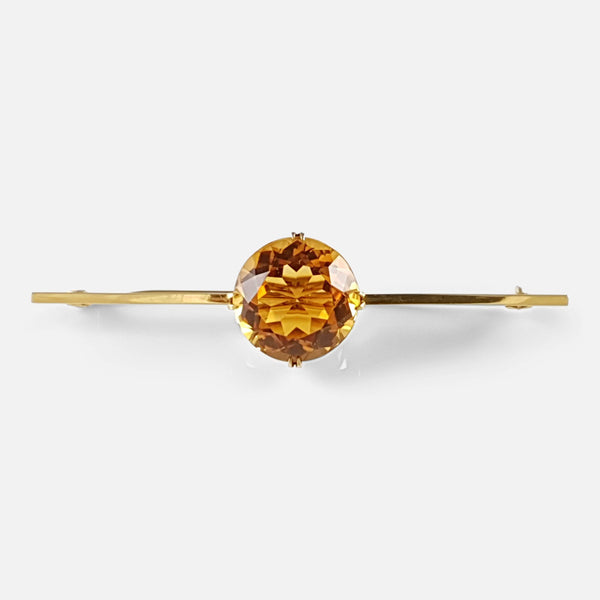 Edwardian 15ct Yellow Gold 17cts Citrine Bar Brooch - Argentum Antiques & Collectables