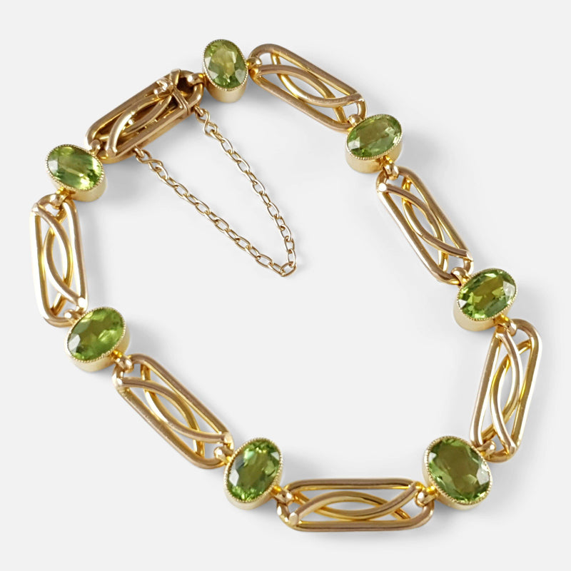 Edwardian 15ct Yellow Gold and Peridot Link Bracelet - Argentum Antiques & Collectables