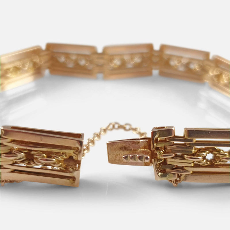 Edwardian 15ct Gold Fancy Gate Link Bracelet 26.3 Grams - Argentum Antiques & Collectables