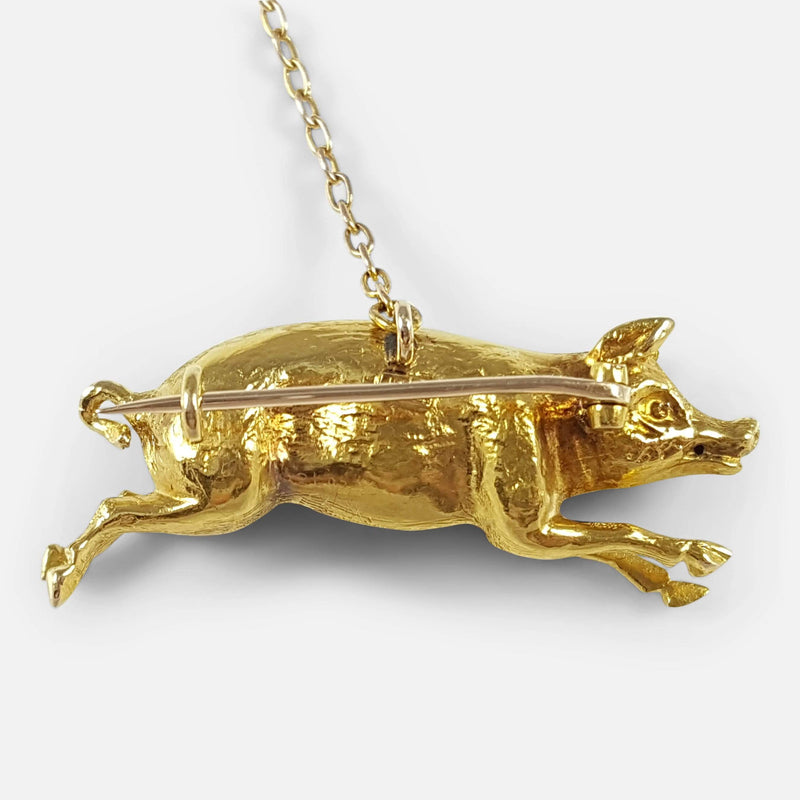 Edwardian 15ct Yellow Gold Pig Brooch - Argentum Antiques & Collectables