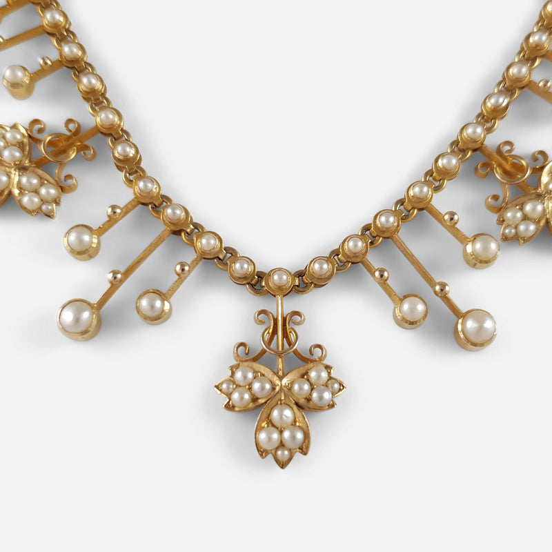 Edwardian 15ct Yellow Gold Seed Pearl Fringe and Foliate Necklace - Argentum Antiques & Collectables