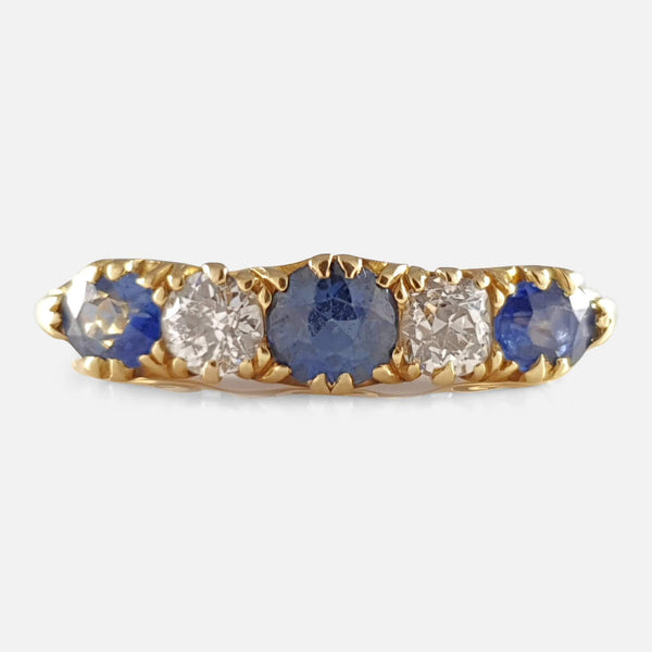 Edwardian 18ct Gold 0.78ct Sapphire & 0.30ct Diamond Boat Ring - Argentum Antiques & Collectables