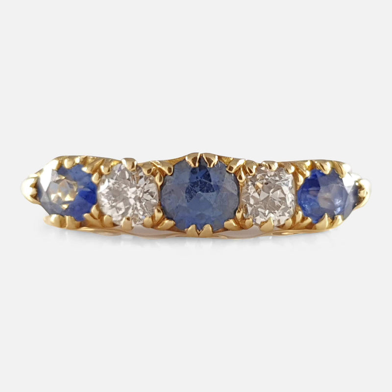 the Edwardian 18ct Gold sapphire and diamond ring viewed from the front