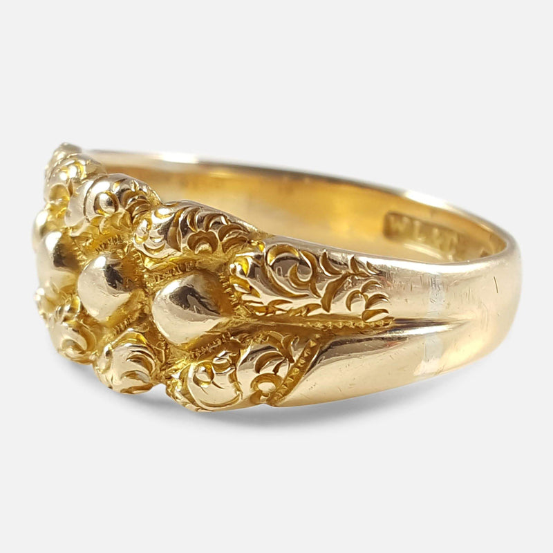 Edwardian 18ct Yellow Gold Engraved Keeper Ring 1903 - Argentum Antiques & Collectables