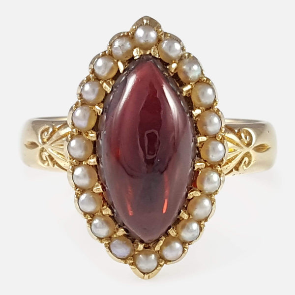 Edwardian 18ct Yellow Gold Garnet and Pearl Cluster Ring - Argentum Antiques & Collectables