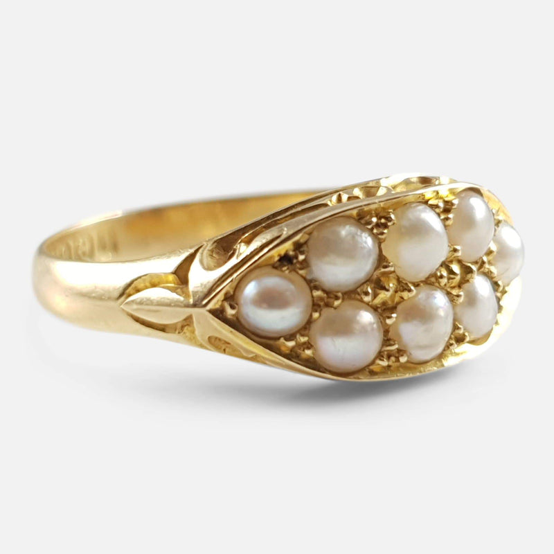 Edwardian 18ct Yellow Gold Seed Pearl Cluster Ring 1908 - Argentum Antiques & Collectables