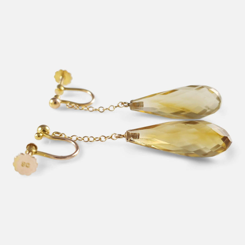 Edwardian 9ct Yellow Gold Citrine Briolette Drop Earrings - Argentum Antiques & Collectables
