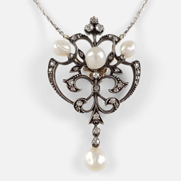 Edwardian Silver, Gold, Pearl, And Diamond Pendant Necklace - Argentum Antiques & Collectables