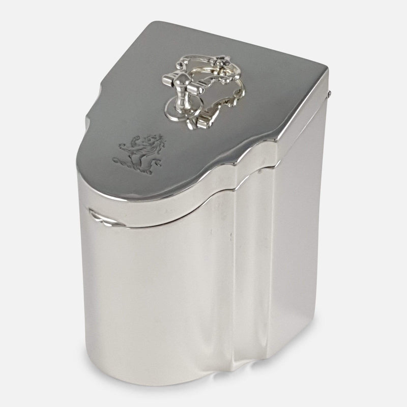 Edwardian Sterling Silver Crested Tea Caddy Box Edward Barnard & Sons - Argentum Antiques & Collectables