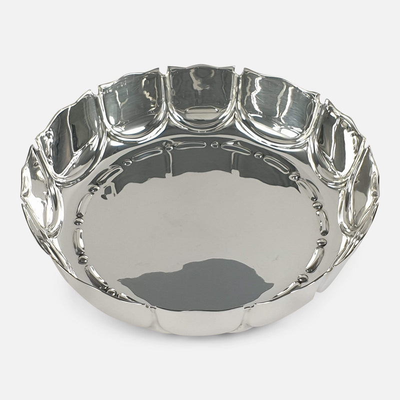 the sterling silver dish viewed from above