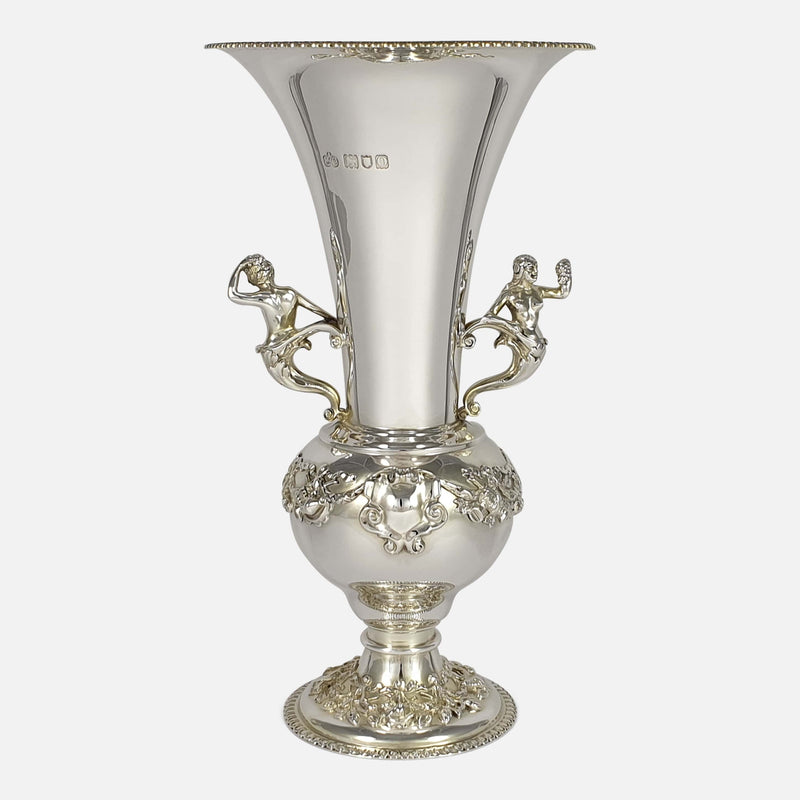 Edwardian Sterling Silver Vase, Elkington & Co, London, 1909 viewed from the front