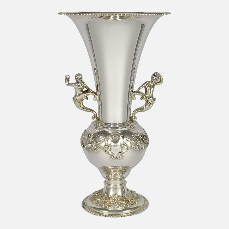 Edwardian Sterling Silver Vase, Elkington & Co, London, 1909 viewed from the back