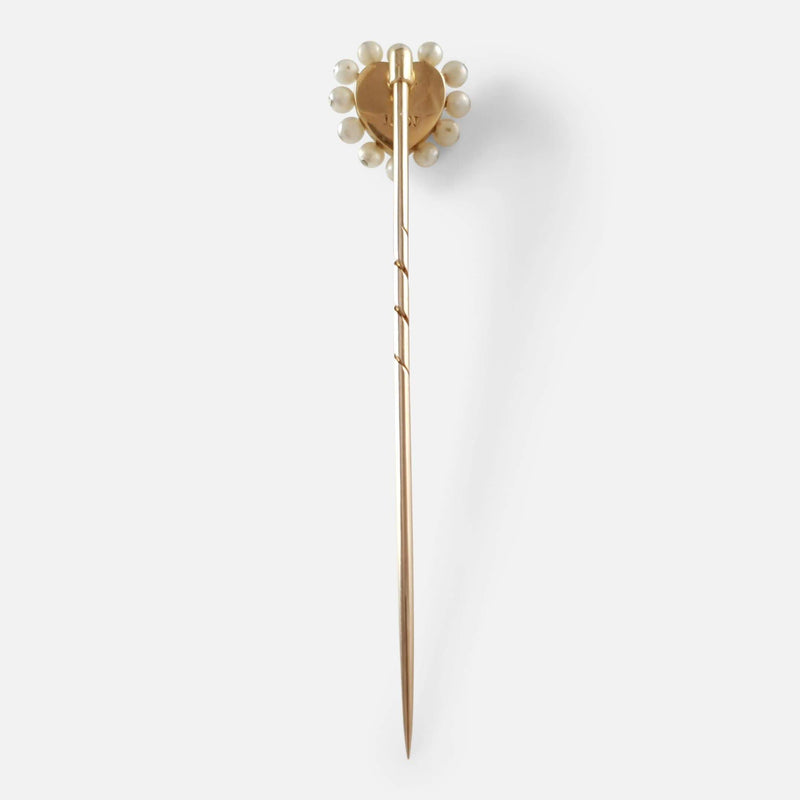 Edwardian Gold, Blue Enamel, Diamond, & Seed Pearl Heart Shaped Stick Pin - Argentum Antiques & Collectables