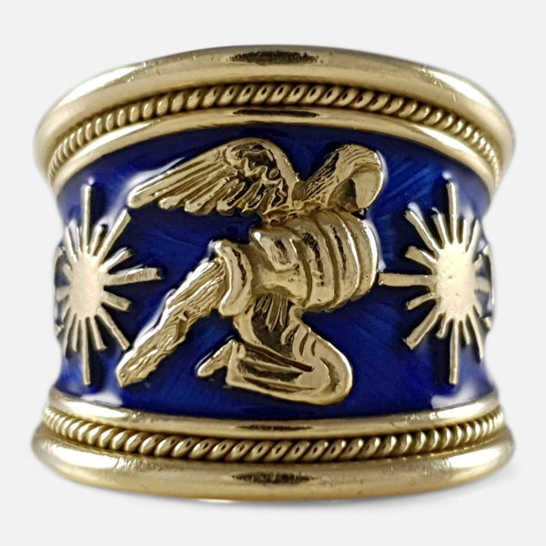 Elizabeth Gage 18ct Gold and Blue Enamel Aquarius Templar Zodiac Ring - Argentum Antiques & Collectables