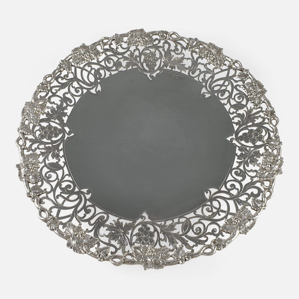 Elizabeth II Sterling Silver Hand Pierced Dessert Cake Stand Sheffield 1952 - Argentum Antiques & Collectables