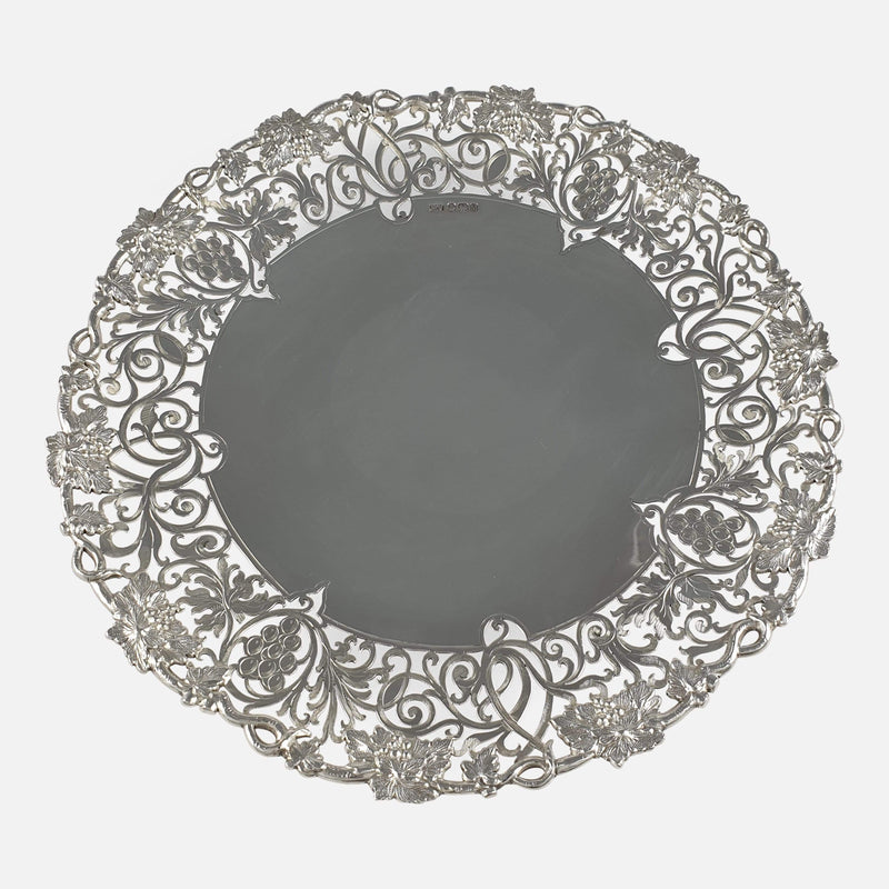 the sterling silver cake stand viewed from above
