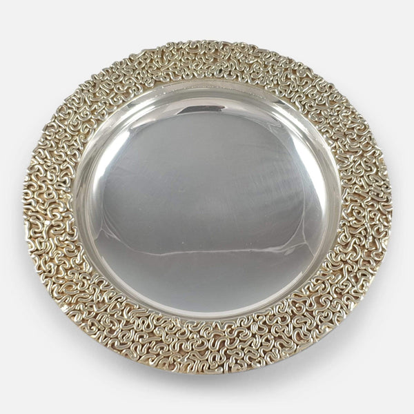 a birds eye view of the silver gilt dish