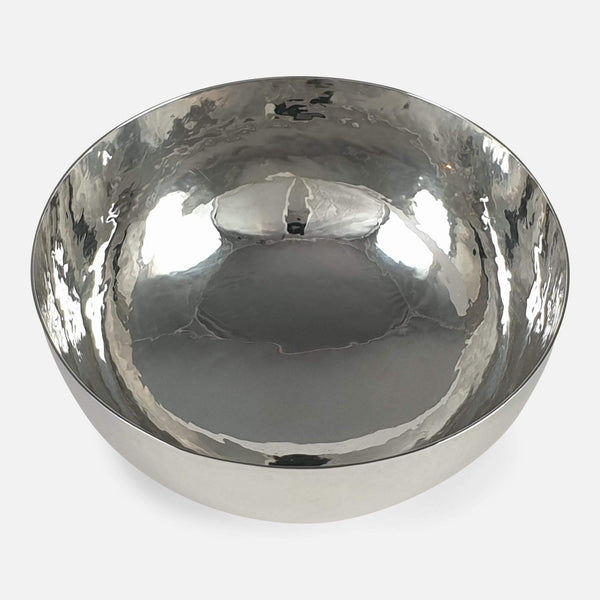 Elizabeth II Sterling Silver Planished Bowl Leslie Durbin 1981 - Argentum Antiques & Collectables