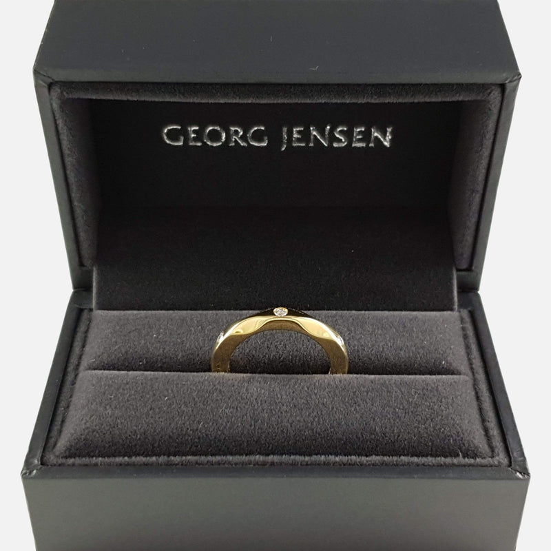Georg Jensen #1261 Mirror Collection 18ct Gold 3 Stone Diamond Ring - Argentum Antiques & Collectables