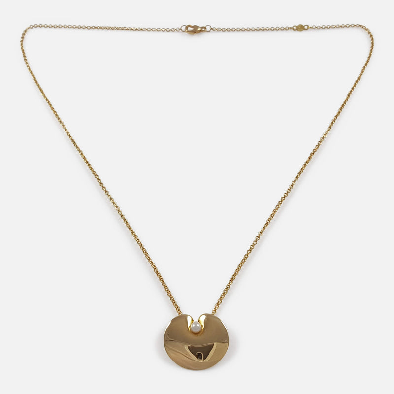 Georg Jensen 18ct Gold And Pearl Pendant With Chain Nanna Ditzel viewed from above
