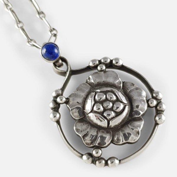Georg Jensen Silver Lapis Lazuli Flower Head Pendant viewed from the front