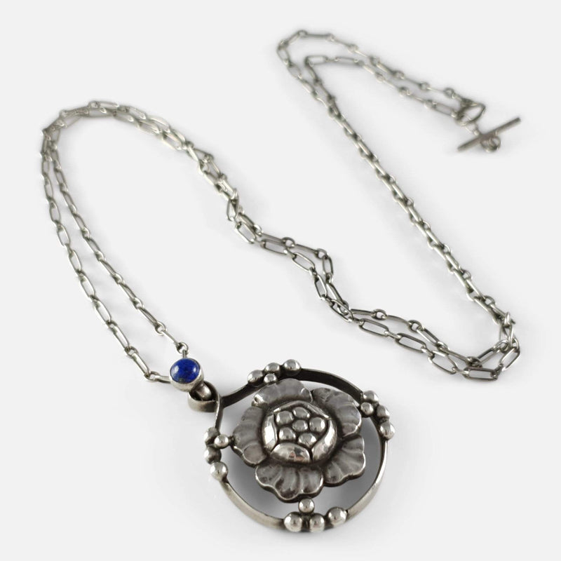 Georg Jensen Silver Lapis Lazuli Flower Head Pendant #24 C1915-1930 - Argentum Antiques & Collectables