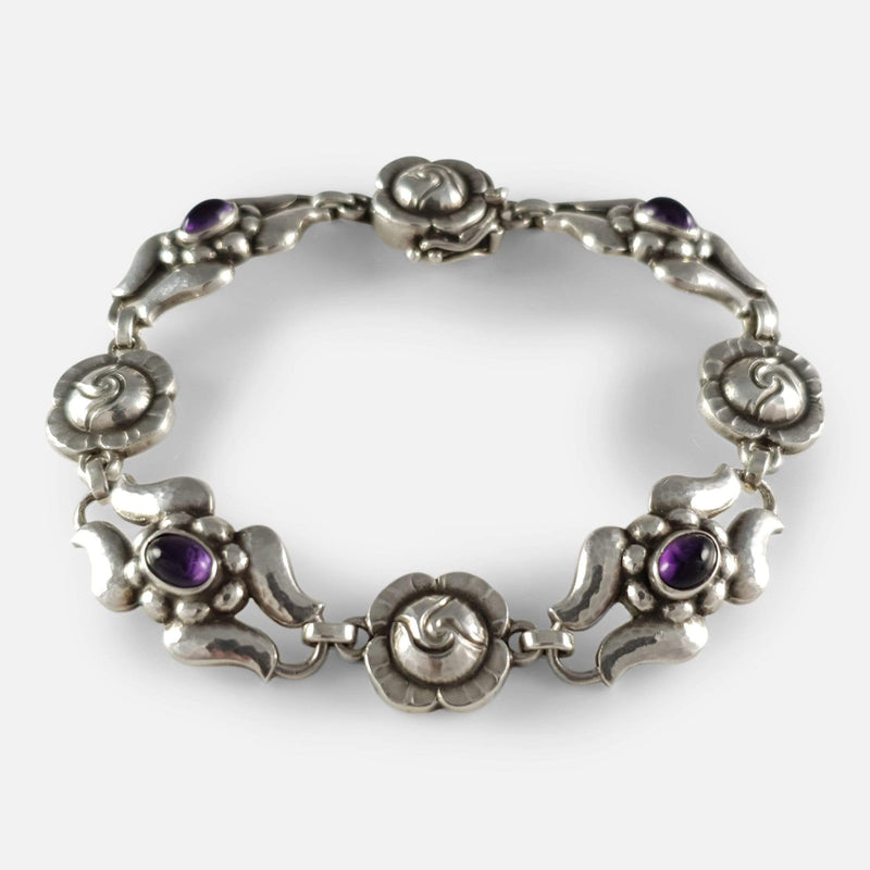 silver amethyst bracelet viewed from above