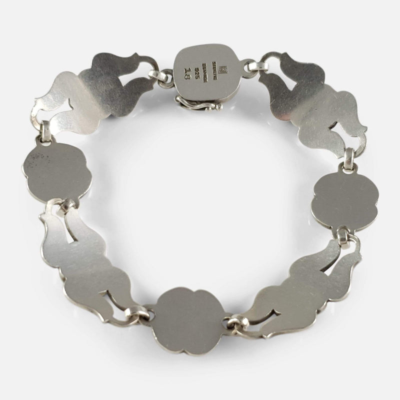 the silver bracelet viewed from the back