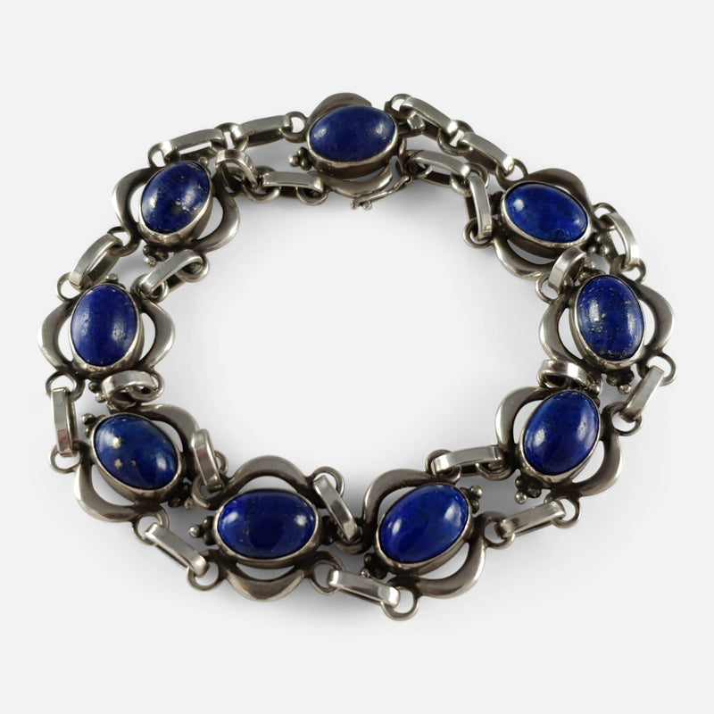 the Georg Jensen silver lapis lazuli cabochon bracelet viewed from above