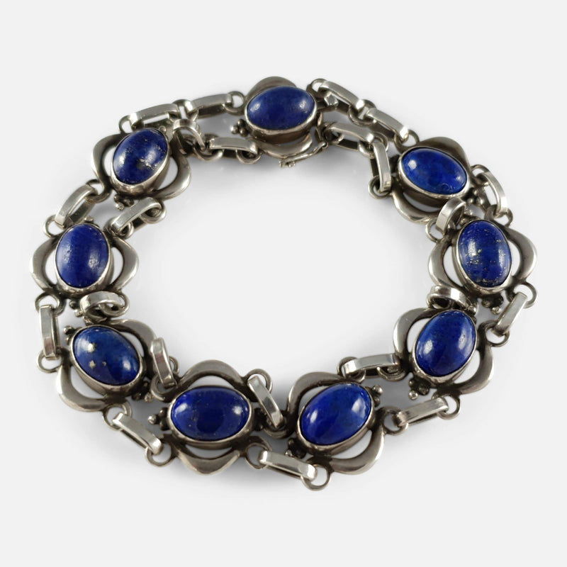the lapis lazuli bracelet viewed from above