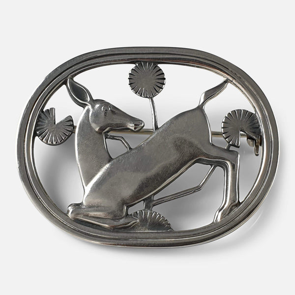 Georg Jensen Silver Brooch #256, Arno Malinowski 1933-1944 view from the front