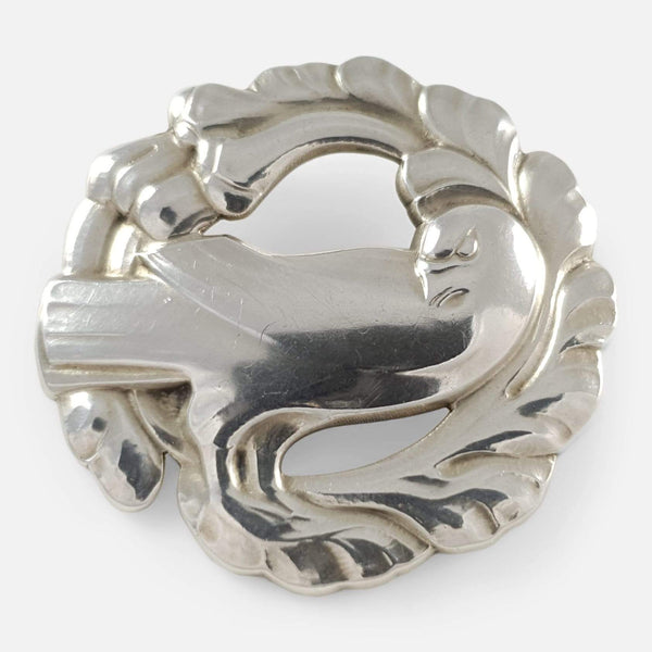 the Georg Jensen silver dove brooch viewed from the front