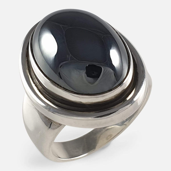 Georg Jensen Danish Sterling Silver Hematite Ring #46A Harald Nielsen - Argentum Antiques & Collectables
