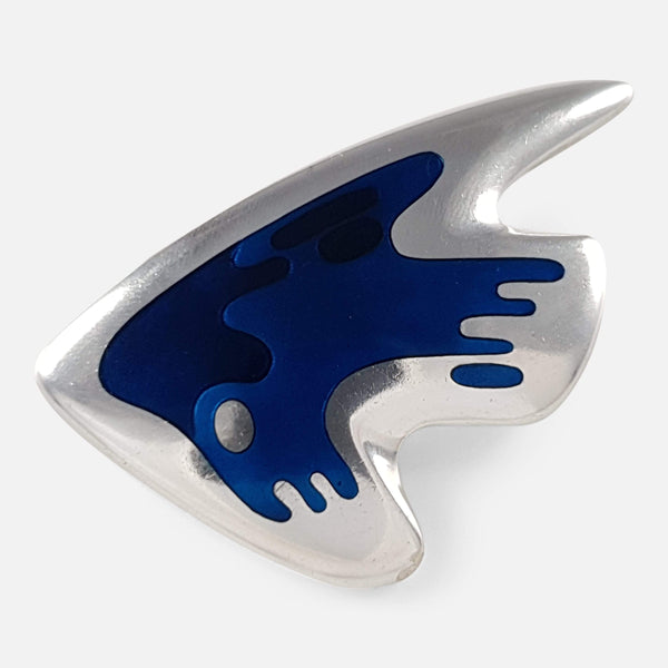 the 1960s Georg Jensen Silver and Enamel Brooch viewed from the front