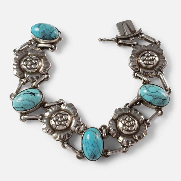 Silver Turquoise Bracelet viewed unfastened