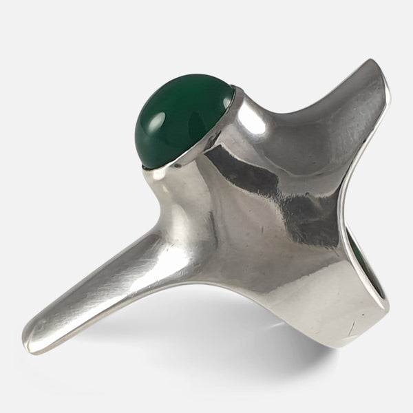 Georg Jensen Sterling Silver Chrysoprase Ring, #154 by Henning Koppel viewed from the right