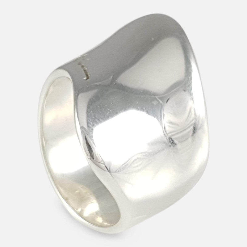 Georg Jensen Sterling Silver Modernist Ring #257, Minas Spiridis viewed from above