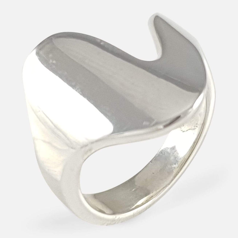 Georg Jensen Sterling Silver Modernist Ring #A77 B viewed from above