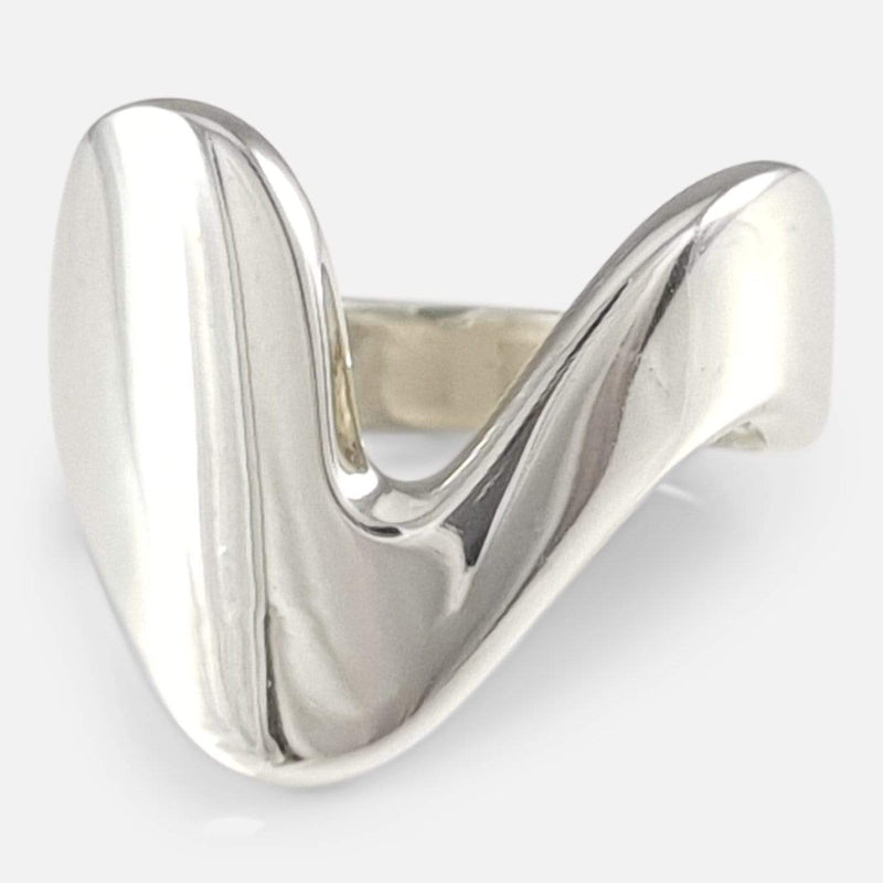 Georg Jensen Sterling Silver Modernist Ring #A77 B viewed from the front