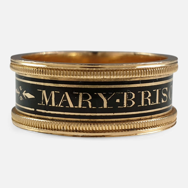 George III 18ct Gold and Enamel Memorial Mourning Band Ring, 1809 view of the outer inscription