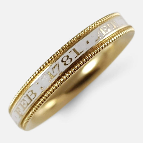 George III 18ct Gold and Enamel Mourning Band Ring Circa 1781 - Argentum Antiques & Collectables