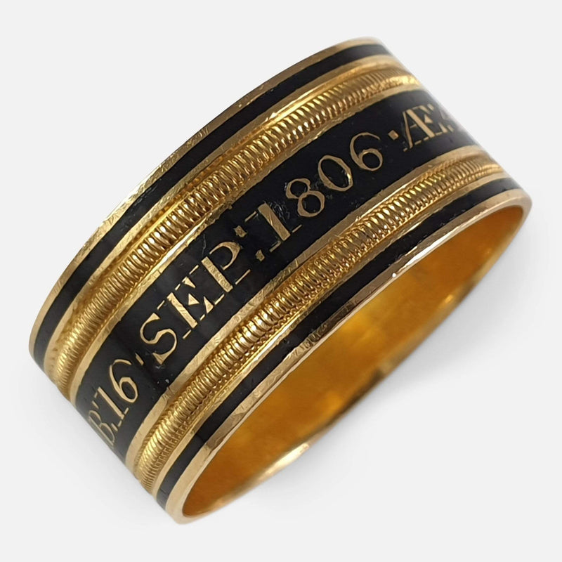 George III 22ct Gold and Enamel Memorial Mourning Ring, 1806 viewed from the front
