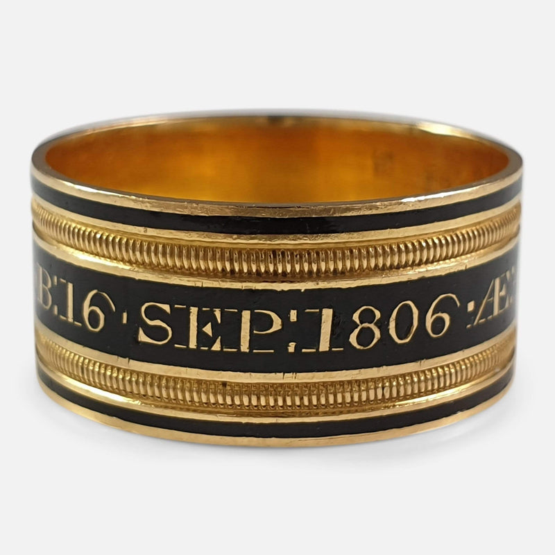 George III 22ct Gold and Enamel Memorial Mourning Ring, 1806 view of the outer inscription