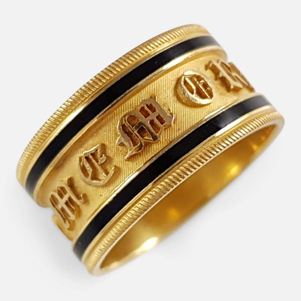George III 22ct Gold & Enamel Memorial Mourning Band Ring 1813 - Argentum Antiques & Collectables