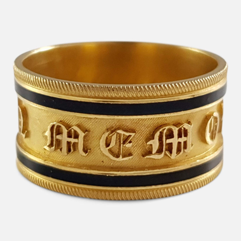 the Georgian 22ct gold and enamel memorial ring viewed from the front