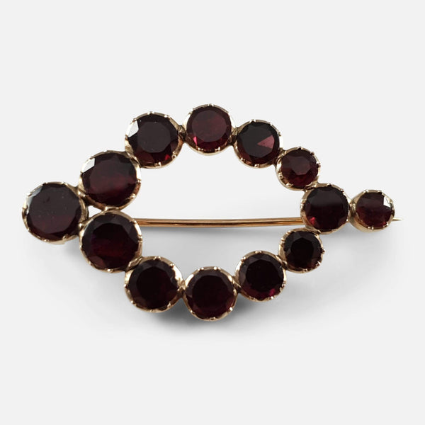 George III Gold Flat Cut Foiled-Backed Almandine Garnet Brooch - Argentum Antiques & Collectables