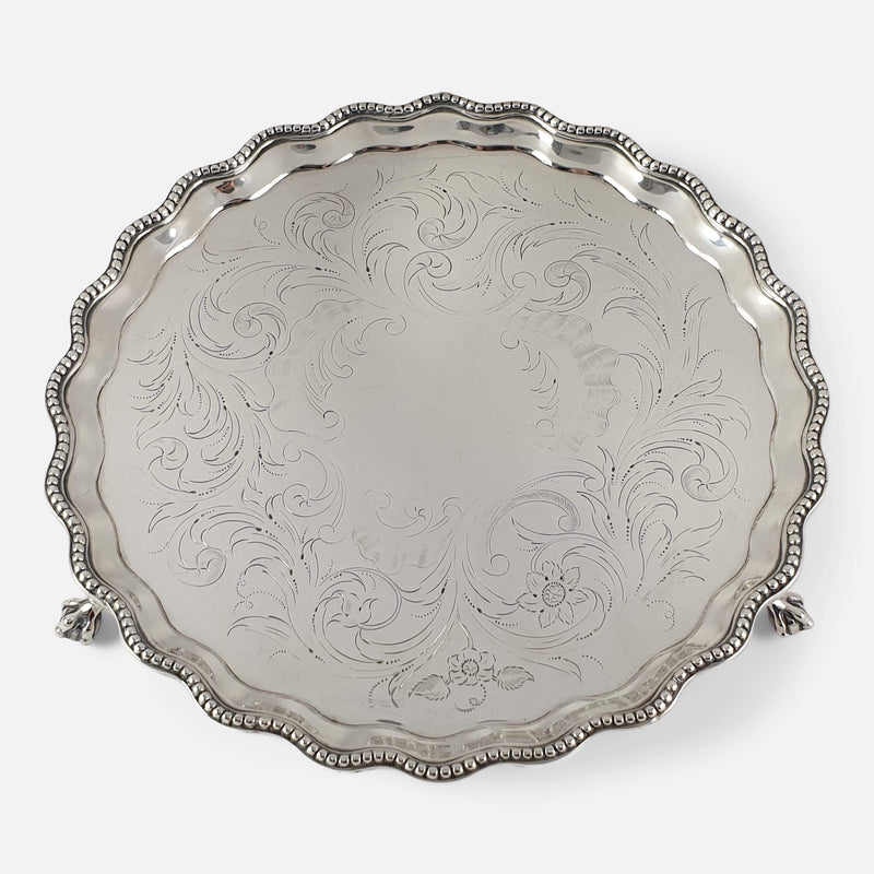 The Georgian Hester Bateman silver salver viewed from above